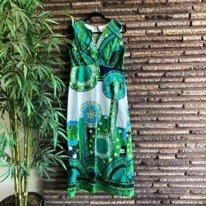 Liberty House Honolulu Vintage 60s Blue Green Maxi